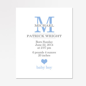 baby monogram birth stats