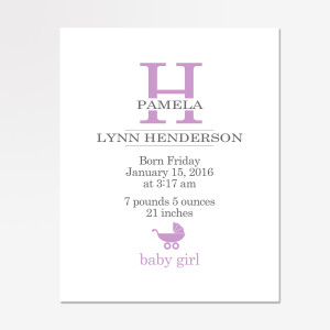 Baby Girl Monogram Wall Art