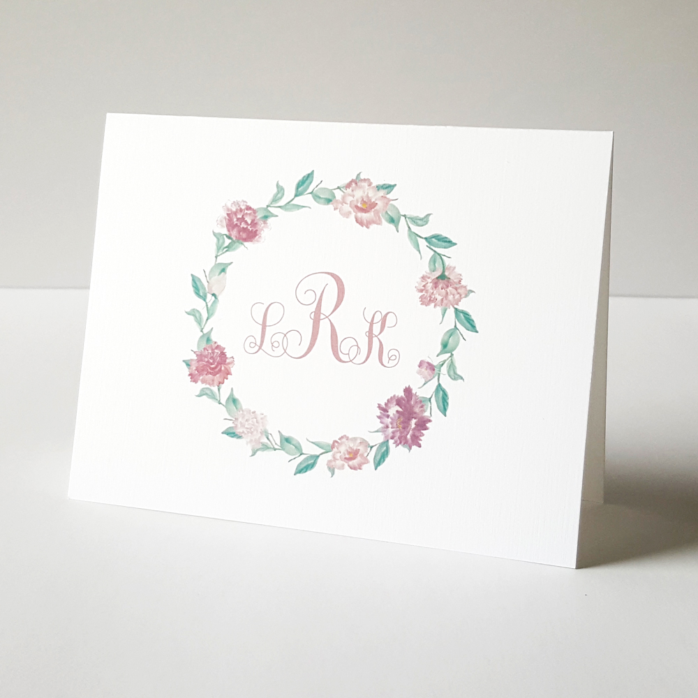floral wreath monogram folded note cards