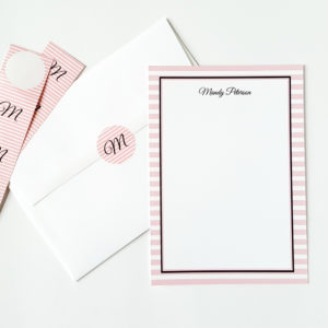 pink striped note cards