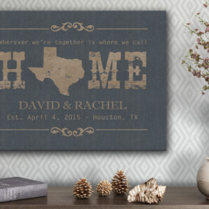 texas canvas print in living room