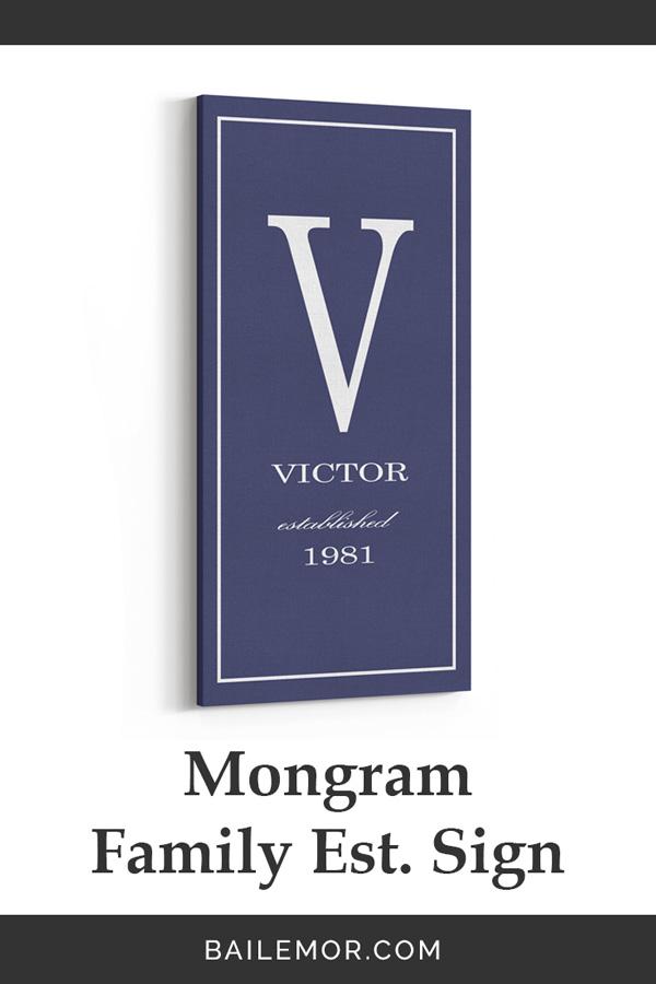 Monogram Established Sign Bailemor