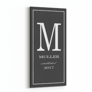 monogram last name sign slate