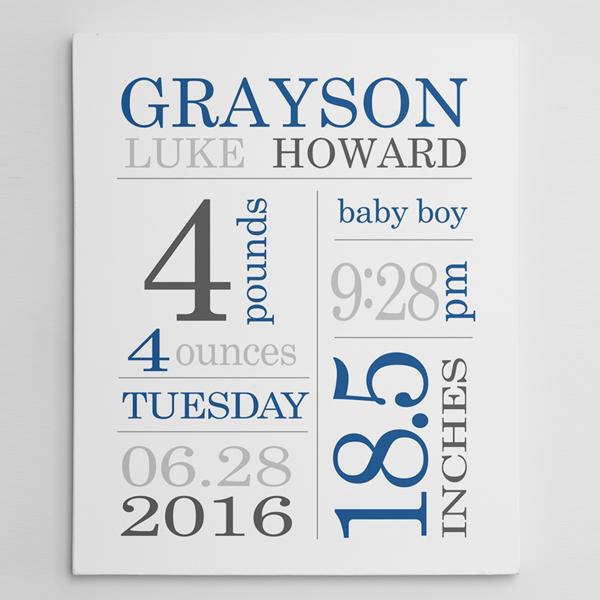 birth stats wall art baby boy subway canvas print