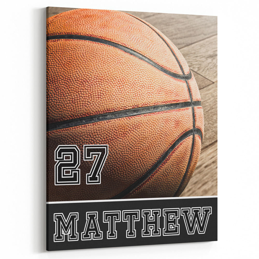 Personalized Basketball Bedroom Decor Canvas Print