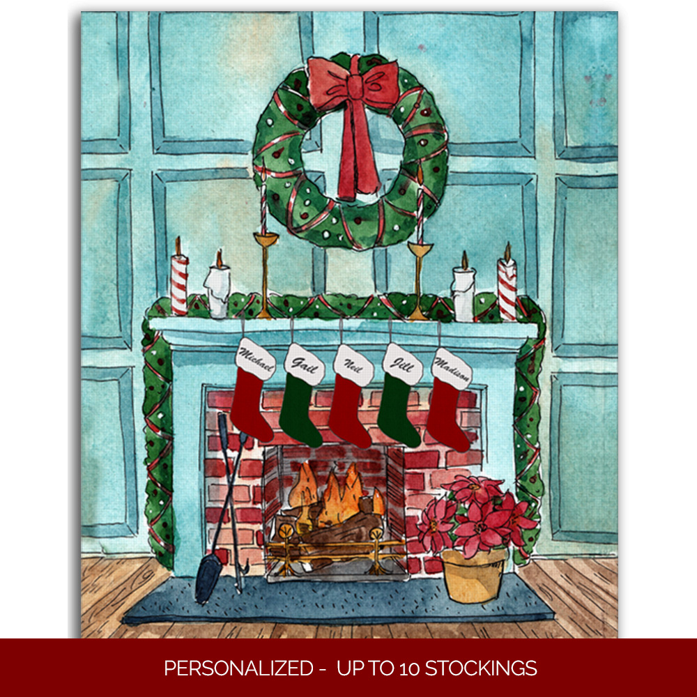 Christmas Fireplace Canvas Sign Personalized Canvas Wall Print