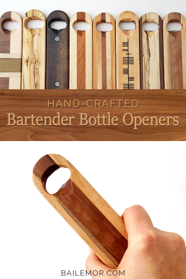 Wooden Bottle Opener 'Black & Tan'