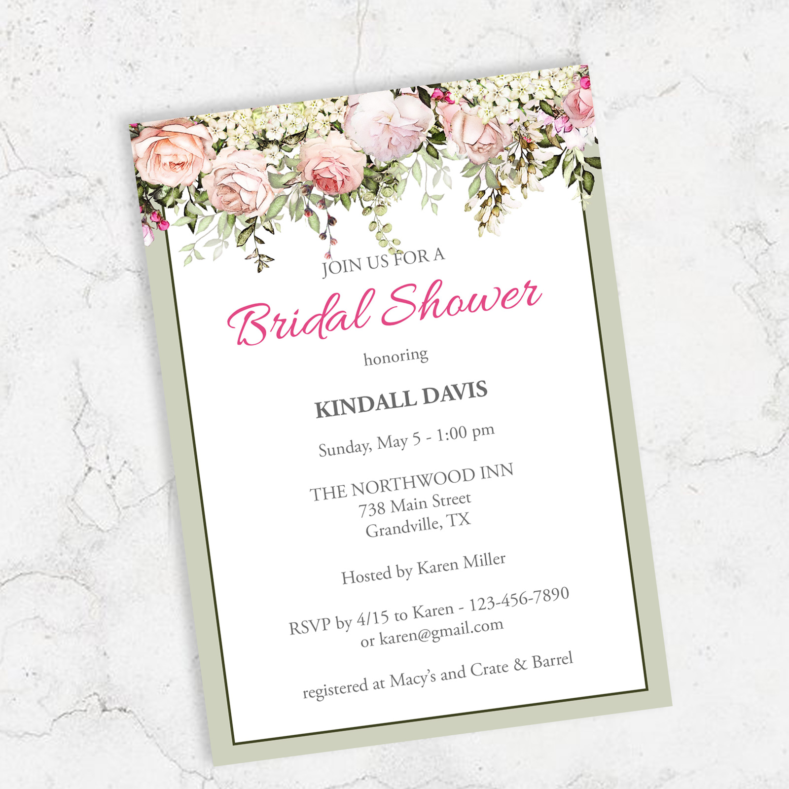 Bridal Shower Invitation Template Rose Garden Theme