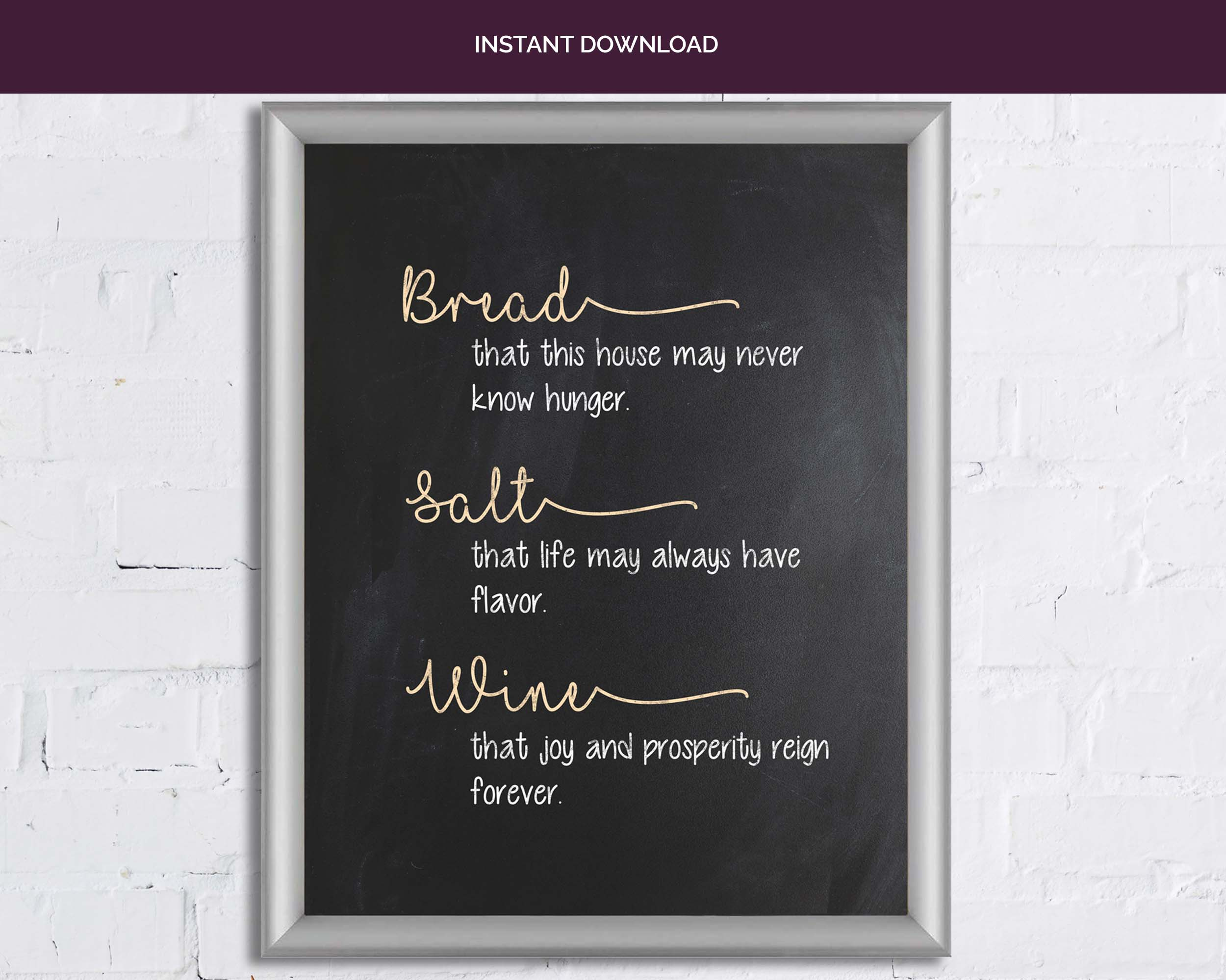 Traditional Housewarming Blessing Printable Instant Download